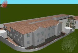 Desenho em 3D da residência vista de cima