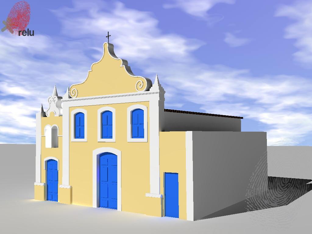 Desenho em 3D da igreja vista do ângulo direito