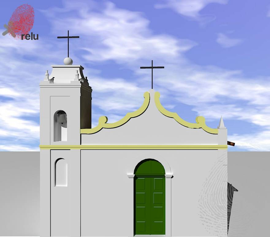 Desenho em 3D da Capela São Gonçalo vista de frente