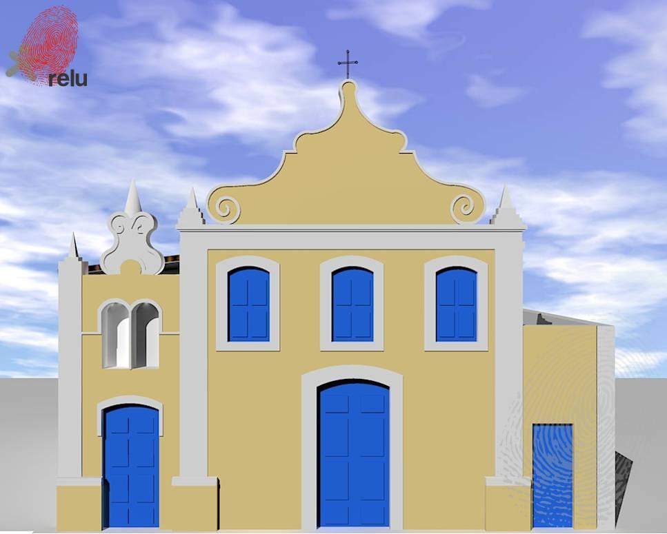 Desenho em 3D da igreja vista de frente