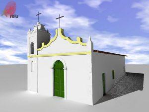 Desenho em 3D da Capela São Gonçalo vista do ângulo direito